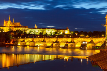 skyline of Prague with Charles bridge at night