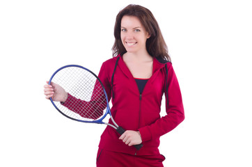 Woman in red costume in sports sporting concept