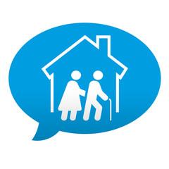 Etiqueta tipo app azul comentario simbolo residencia de ancianos