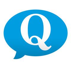 Etiqueta tipo app azul comentario Q