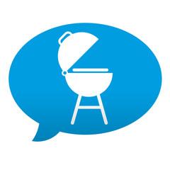 Etiqueta tipo app azul comentario simbolo barbacoa
