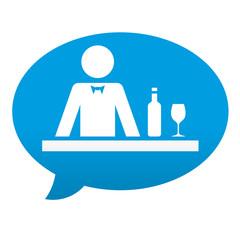 Etiqueta tipo app azul comentario simbolo barra de bar