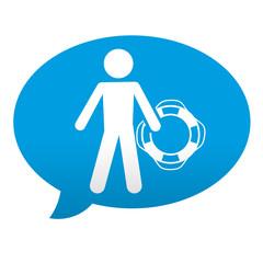 Etiqueta tipo app azul comentario simbolo baywatch