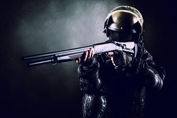 soldier with shotgun