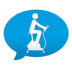 Etiqueta tipo app azul comentario simbolo bicicleta estatica