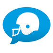 Etiqueta tipo app azul comentario casco futbol americano