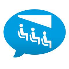 Etiqueta tipo app azul comentario simbolo cine