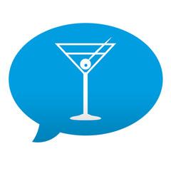 Etiqueta tipo app azul comentario simbolo coctel