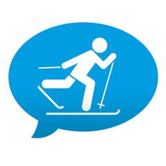 Etiqueta tipo app azul comentario simbolo cross country