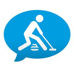 Etiqueta tipo app azul comentario simbolo curling