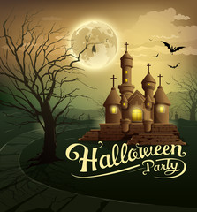 Happy Halloween party castles with message design