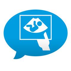 Etiqueta tipo app azul comentario simbolo ecografia
