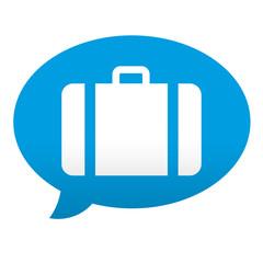 Etiqueta tipo app azul comentario simbolo maleta