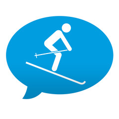 Etiqueta tipo app azul comentario simbolo esqui