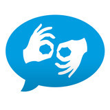 Fototapety Etiqueta tipo app azul comentario simbolo lenguaje de signos