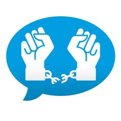 Etiqueta tipo app azul comentario simbolo libertad