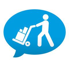 Etiqueta tipo app azul comentario simbolo logistica