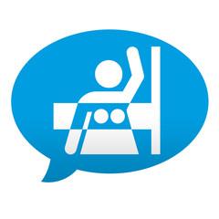 Etiqueta tipo app azul comentario simbolo mamografia