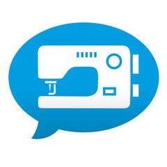 Etiqueta tipo app azul comentario simbolo maquina de coser