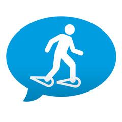 Etiqueta tipo app azul comentario marcha sobre nieve