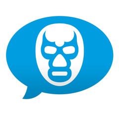 Etiqueta tipo app azul comentario mascara de lucha libre