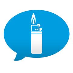 Etiqueta tipo app azul comentario simbolo mechero