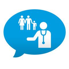 Etiqueta tipo app azul comentario simbolo medico de familia