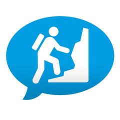 Etiqueta tipo app azul comentario simbolo montañismo