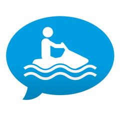 Etiqueta tipo app azul comentario simbolo moto acuatica