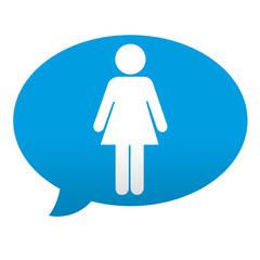 Etiqueta tipo app azul comentario simbolo mujer