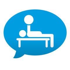 Etiqueta tipo app azul comentario simbolo musculacion