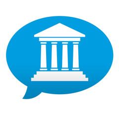 Etiqueta tipo app azul comentario simbolo museo