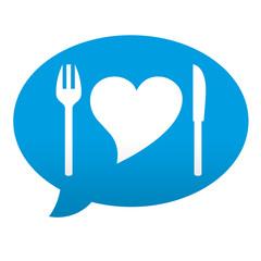 Etiqueta tipo app azul comentario simbolo nutricion
