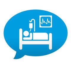 Etiqueta tipo app azul comentario paciente de hospital