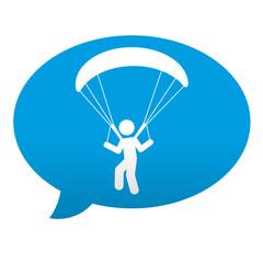 Etiqueta tipo app azul comentario simbolo parapente