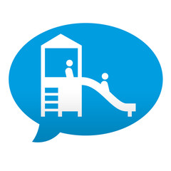 Etiqueta tipo app azul comentario simbolo parque infantil