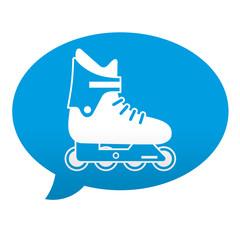 Etiqueta tipo app azul comentario simbolo patin en linea