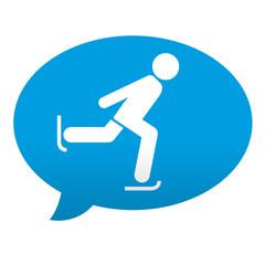 Etiqueta tipo app azul comentario patinaje sobre hielo