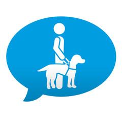 Etiqueta tipo app azul comentario simbolo perro guia