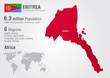 Eritrea world map with a pixel diamond texture.
