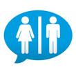 Etiqueta tipo app azul comentario simbolo unisex
