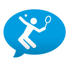 Etiqueta tipo app azul comentario simbolo tenista