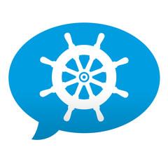 Etiqueta tipo app azul comentario simbolo timon de barco