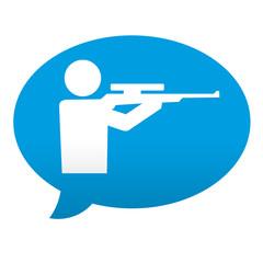 Etiqueta tipo app azul comentario simbolo tiro de precision