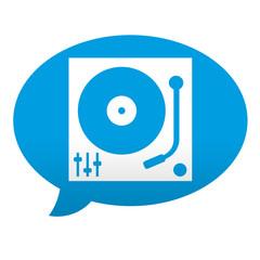 Etiqueta tipo app azul comentario simbolo tocadiscos