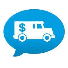Etiqueta tipo app azul comentario simbolo transporte blindado