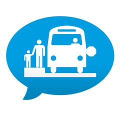 Etiqueta tipo app azul comentario simbolo transporte escolar