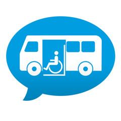 Etiqueta tipo app azul comentario transporte minusvalidos
