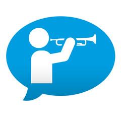 Etiqueta tipo app azul comentario simbolo trompetista