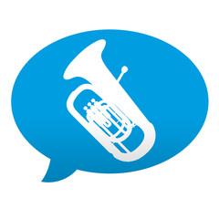Etiqueta tipo app azul comentario simbolo tuba